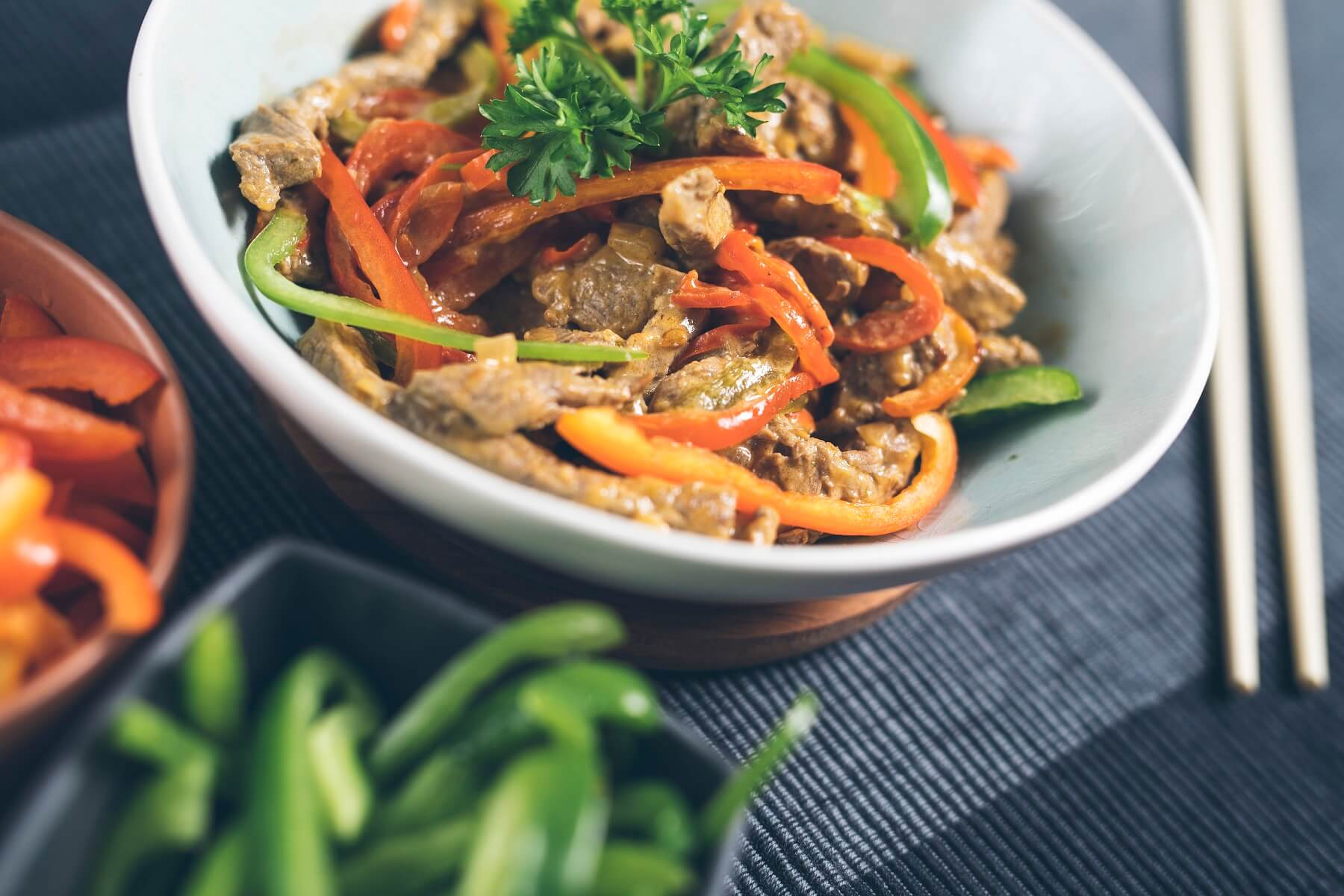 Red Thai beef curry with peppers